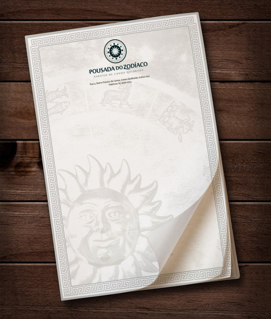 papel timbrado logotipo pousada do zodíaco