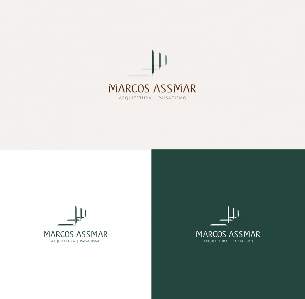 logotipo marcos asmar arquiteto versões positiva e negativa