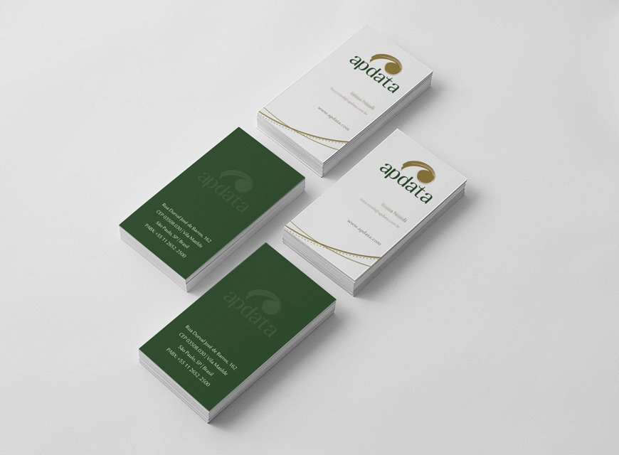 Projeto para criação de identidade visual da marca, criação de cartão de visita e logotipo, Apdata do Brasil Software