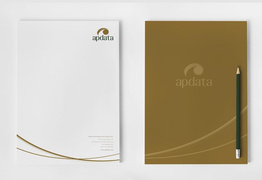 Criação da identidade visual da marca para empresa de gestão em recursos humanos, criação da papelaria corporativa para Apdata do Brasil