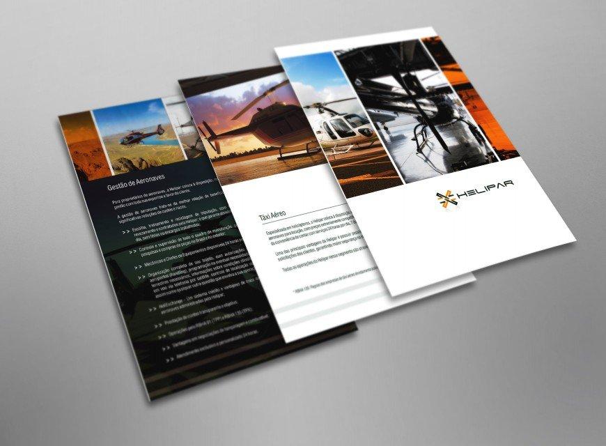 criação de folder institucional e criação de identidade visual para gestão de aeronaves, logística, transporte e helicópteros