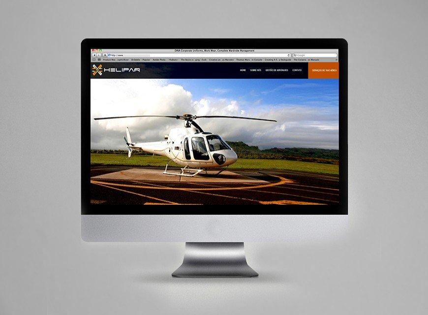 layout criação de site helipar gestão de aeronaves