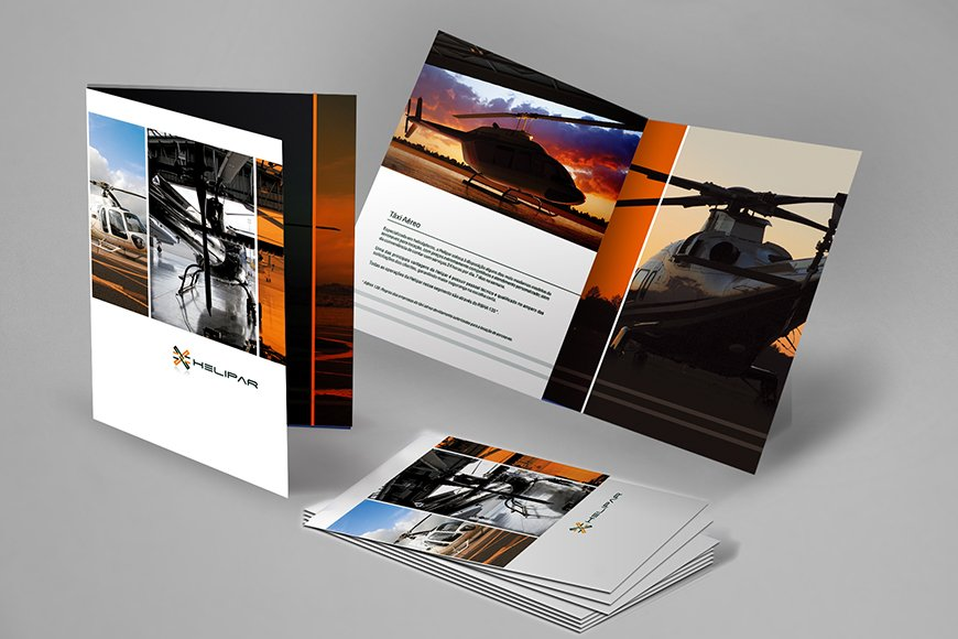 projeto para criação de folder corporativo e identidade visual, helipar gestão de aeronaves e helicópteros