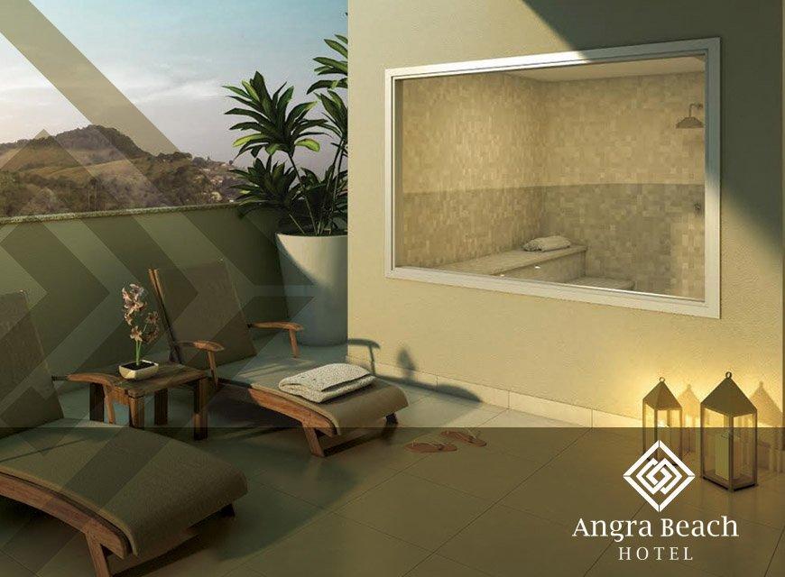 Projeto para identidade visual do hotel e resort, e criação de layout para Angra Beach hotel logotipo moderno