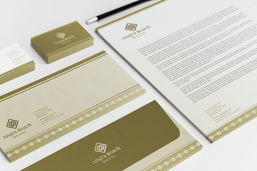 Criação de papelaria e identidade visual para hotel, Angra Beach, resort em angra dos reis, rio de janeiro